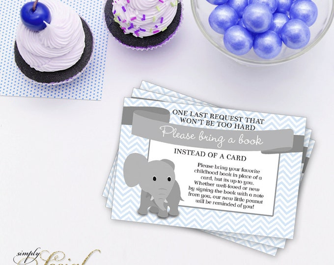 INSTANT DOWNLOAD Elephant Baby Shower Bring a Book Instead of a Card insert Blue Chevron PRINTABLE