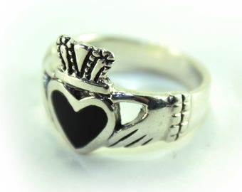Sterling Silver Claddagh Ring, Onyx Ring, Boho Ring, Claddagh Jewelry, Sterling Claddagh, Promise Ring, Irish Jewelry, Engagement Ring