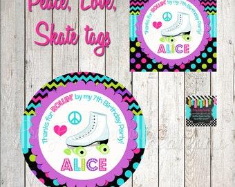PEACE, LOVE, SKATE favor tags - You Print