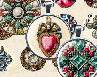 Antique French Jewelry Digital Collage Sheet 1 Inch Circles Vintage French Ephemera Printables Commercial & Personal Use piddix 940