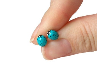 Blue Ladybug Earrings - Titanium Stud Earrings - Hypoallergenic Earrings for Sensitive Ears Little Girl Earrings Easter Gifts for Teens
