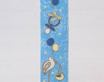 BOLDUC packaging gifts x 5 - blue and gold - patterned birth ref.552
