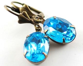 Aqua Blue Earrings March Birthstone Earrings Birthstone Jewelry Aquamarine Vintage Jewels Earrings March Birthday Gift for Mother New Mom
