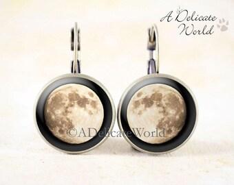 Full Moon Earrings - Original Lunar Photography, Astronomy Earrings, Lunar Earrings, Space Earrings, Moon Jewelry, Lunar Jewelry Earrings