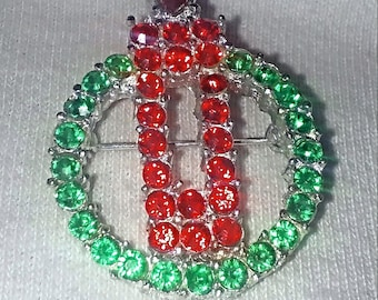 Vintage Christmas Wreath Pin Red and Green Crystals in Silver Toned Setting