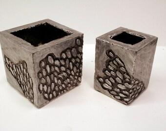 Pair of concrete pots modern for succulent or cactus