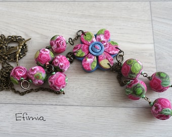 Pink Green necklace in Y like polymer clay, floral, flower pendant, jewelry denim imitation