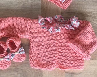 Jacket in wool fabric and coral pink sweet pea Wiltshire