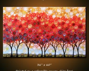 "Art Original Extra Large Modern Trees Painting Wall Decor ... 36"" x 60"" ... ""Fall Splendor"", Free US shipping"