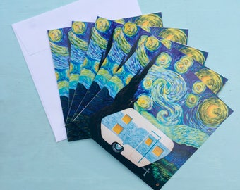 Starry Starry Night Vintage Trailer Greeting Card