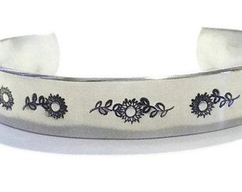 Sunflower Bracelet - Aluminum Bracelet - Sunflower Jewelry - Flower Bracelet - Flower Jewelry - Gardener Bracelet - Gardener Jewelry