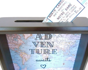 Ticket Holder - Black Shadow Box - Ticket Stub Holder - 8x8 Inch Shadow Box Drop Top Frame - Adventure Awaits - Unique Gift - Map Shadow Box