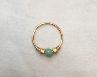 20g 8mm Gold (14k filled) Continous Rinf (Cartilage or Nose Ring, Piercing) with Blue-Green Bead