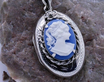 Handmade Sterling Silver Cameo Locket Choose your cameo