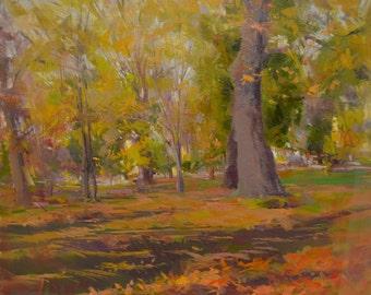 Fall painting oil artwork, Landscape art, Autumn forest painting, Tree painting yellow oil painting original