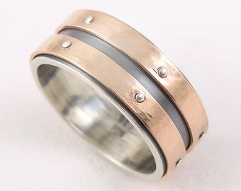 Unique gold wedding ring - rustic gold ring,14K gold and silver,mens ring,mens gold ring,gold engagement ring,rustic gold band
