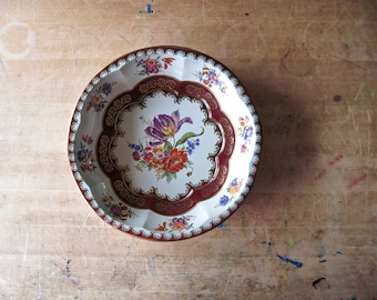 Vintage Daher Painted Bowl, Red and White Tin Bowl, Flower Bowl, Floral Tin Bowl, Boho Home Decor, Cottage Shabby, Decorated Metal Bowl