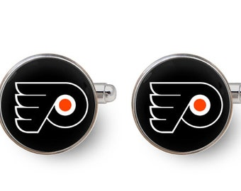 Philadelphia Flyers cufflinks hockey cufflinks Philadelphia Flyers gift groomsmen cufflinks -with gift box