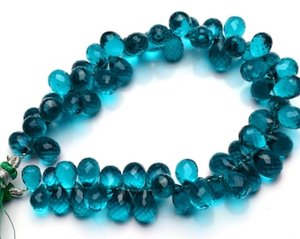 """Neon Apatite Color Hydro Quartz Faceted 10x7MM Approx. Drop Shape Briolettes Beads 8.5"""" Full Strand Super Fine Quality Beads"""