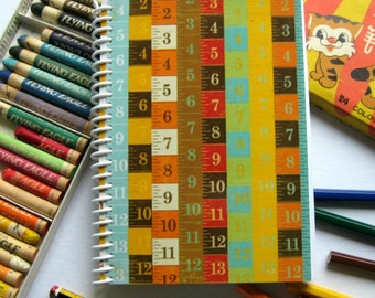 Back to School A6 Notebook Spiral Bound - Measuring Tapes, Writing Diary Journal, Blank Sketchbook, Pocket, 4x6 Inches, Gift Under 20, Cute
