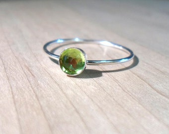 Peridot Ring, Sterling Silver Peridot Ring, Peridot Stacking ring, August Ring, silver stacking ring, August Birthstone ring