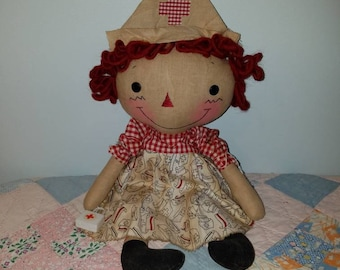 Raggedy Cloth Nurse doll, handmade doll as a nurse, Homespun from the Heart, Made to order you can customize hair