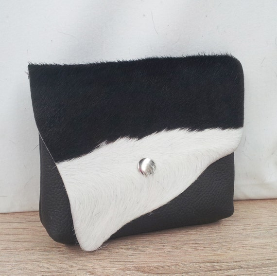 Cowhide Leather purse with flap, black and white for coins, cardholder, lipstick and make up purse.
