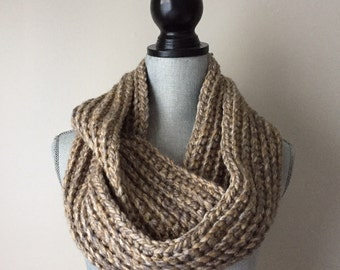 Oatmeal Ribbed Crocheted Infinity Scarf