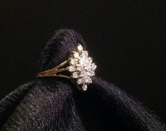Diamond Cluster 14k White Gold Ring