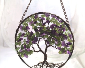 The Wisteria, SunCatcher, Tree of Life, Sun Catcher, Amethyst Peridot Gemstones, Copper Tree, Wire Wrapped Tree, Window Decor, Wall Ornament