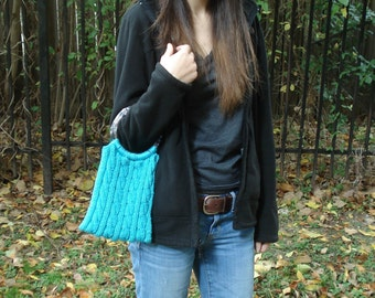 Blue Cabled Purse with Clear Handles