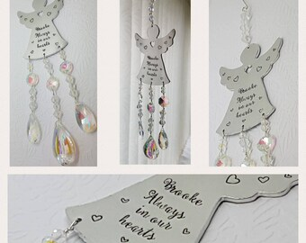 Personalised hand stamped memorial angel suncatcher, lovely memorial for around the house. These can have any wording that will fit