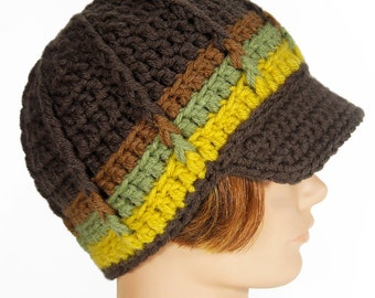 Newsboy Beanie with Visor, 'Summer Sunflower' Made in PDX