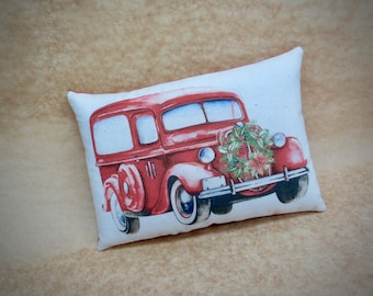 Vintage Red vehicle pillow | Christmas decor | Vintage red car with wreath | Antique Car decor | Gift for him | Stocking stuffer |