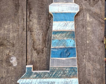 Rustic wood lighthouse