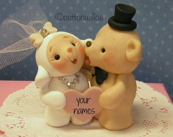 Lamb Bride Bear Groom Custom Wedding Cake Topper Personalized