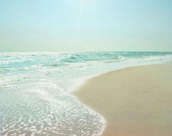 Ocean Photograph, Aqua Teal Sea Green Print, Seaside, Beach, Coastal Shore, Morning Light Seashore 8x8