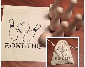Bowling Set - Wooden - Travel