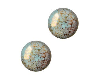 The beads by Puca®: DIY - 2 round cabochon glass 18 mm - Aqua Bronze