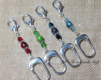 Large Stitch Marker Holder- Beaded Keeper for Stitch Markers- Knitting Gift- Tools Organizer