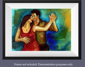 Tango dancer watercolor painting, Vibrant romantic couple art, Couple dancing to tango, Woman in red dress paintings, Salsa art, Samba art
