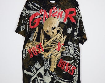 Guns N Roses Shirt Vintage shirt 1992 Dust N Bones All Over Print tee 1990s Use Your Illusion Axl Rose Slash Heavy Metal Rock and Roll Band