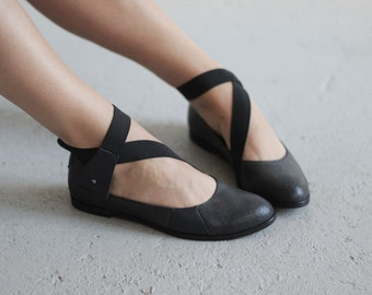 Flee - Dark Blue - Maestory by Keyman Design - FREE SHIPPING - Handmade Leather Women Flat Shoes