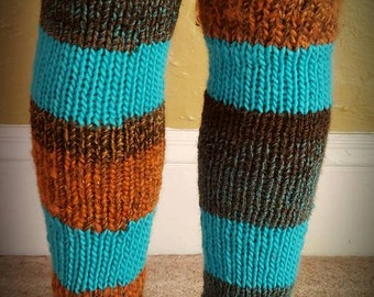Turquoise and Earth Leg Warmers