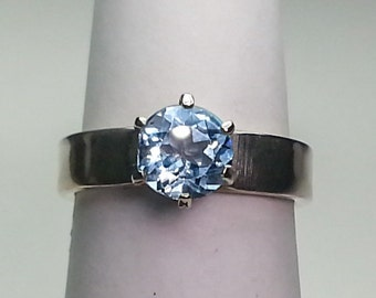 Natural Blue Topaz Sterling Silver Ring 1.52 ct. Size 6.5