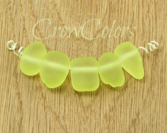 Primrose yellow faux sea glass beads - SRA lampwork - translucent pale pastel - satin glass - random shapes - wabi sabi - flat nuggets