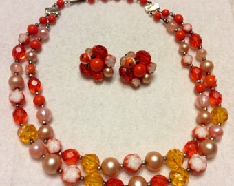Vintage 1950's orange beads necklace and earrings set