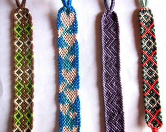 Double Diamonds, Hearts, Zig Zags or Xs & Diamonds Woven Bracelets Your Choice