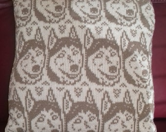 Handmade knitted Husky cushion cover complete with infill