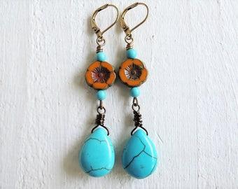 Turquoise Desert Bloom Earrings Turquoise Howlite Stone Drops Mustard Raw Sienna Flower Dangles Bohemian Earrings Wire Wrapped Boho Earrings